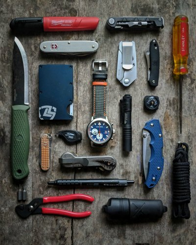 Daily EDC Flatlay With The Stalingrad Trooper Chronograph